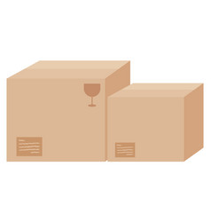 Two cardboard boxes with labels vector