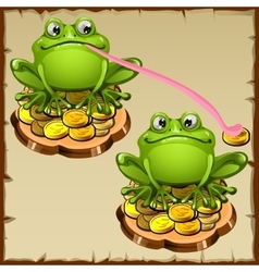 Two statue frog sit on coins FengShui talisman vector