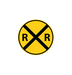 Usa traffic road sign railroad crossing ahead vector