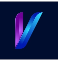 V letter volume blue and purple color logo design vector