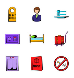 Vacation icons set cartoon style vector