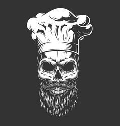 vintage monochrome skull in chef hat vector image