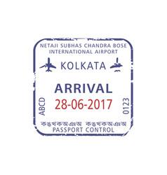 Visa stamp in kolkata international airport vector