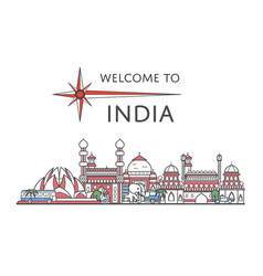 Welcome to india poster in linear style vector