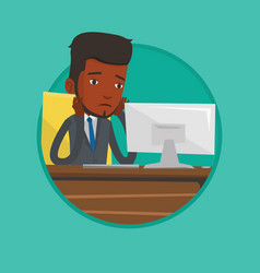 Exhausted sad office worker working in office vector