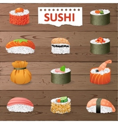 Great sushi set vector