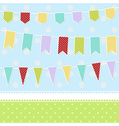 Greeting card with colorful childish bunting flags vector image vector image