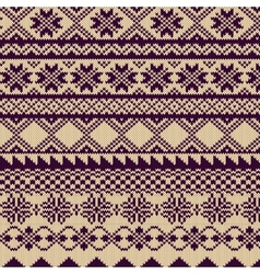 Knitted background with pattern in Fair Isle style vector image