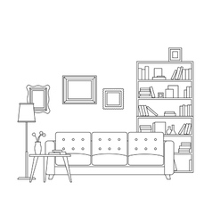 Line interior of living room vector image vector image