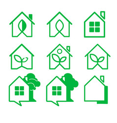 logo home a set of nine logos house icons vector image