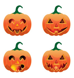 set of pumpkins for halloween vector image vector image