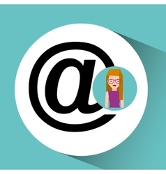 girl with glasses mail sign design vector image