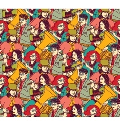 Musicians crowd seamless pattern color vector image