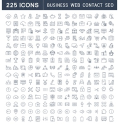 Set flat line icons business seo web and contact vector