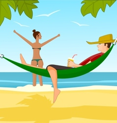 Young man and his girlfriend relaxing on a beach vector image vector image