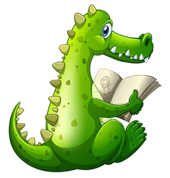 A crocodile reading vector image vector image