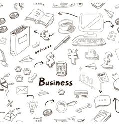 business doodles seamless pattern vector image