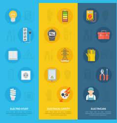 electricity safety and electrician icon set vector image vector image