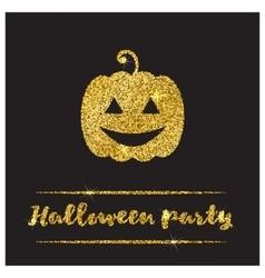 Halloween gold textured pumpkin icon vector image vector image