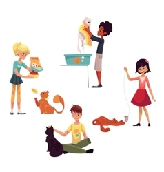 Happy kids feeding washing stroking a cat vector image vector image