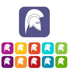 Roman helmet icons set vector