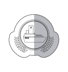 sticker monochrome with half shadow and boat in vector image vector image