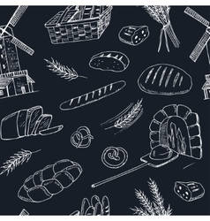 Bread hand drawn seamless pattern vector image vector image