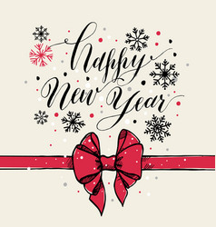Calligraphic text happy new year with snowflakes vector