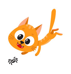 cute and funny red cat character chasing hunting vector image
