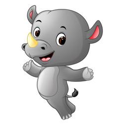 cute happy rhino jumping vector image vector image
