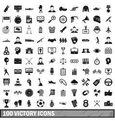 100 victory icons set simple style vector