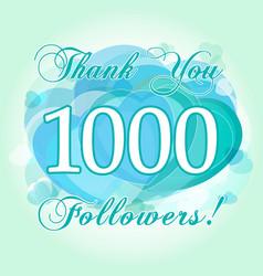 1000 followers hearts blue vector