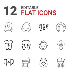 12 baby icons vector image