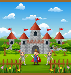 A prince and two knight in front of the castle vector