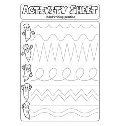 Activity sheet handwriting practise 2 vector
