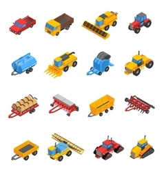 Agricultural Machines Isometric Icon Set vector image