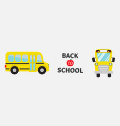 back to school yellow bus set line cartoon vector image