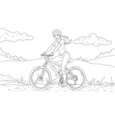 Beautiful girl rides a bicycle coloring book vector
