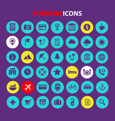 Big tourism and travel icon set trendy flat icons vector