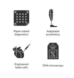 Bioengineering glyph icons set medical vector