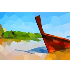 Boat on the beach poly vector
