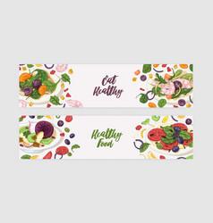 Bundle web banner templates with delicious vector
