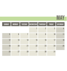 calendar planner 2019 monthly planner may vector image