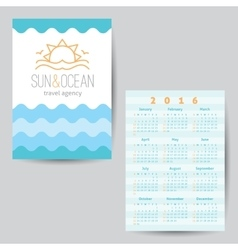 Calendar with sun and waves logo vector