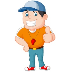 Cartoon coach giving a thumbs up vector