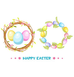 Circle frame with easter eggs and tree vector