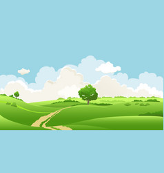 Cloudy sky and a tree vector