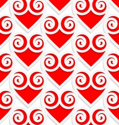 Colored 3D red swirly hearts vector