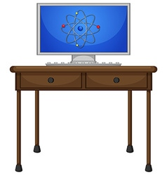 Computer on the wooden table vector image