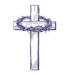 Crown of thorns wooden cross easter symbol of vector
